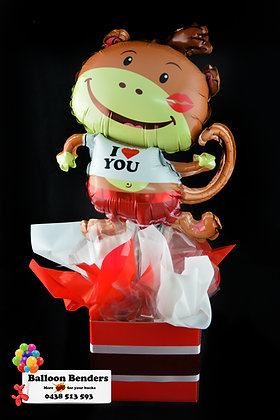 A I LOVE YOU MONKEY BALLOON BOX BOUQUET
