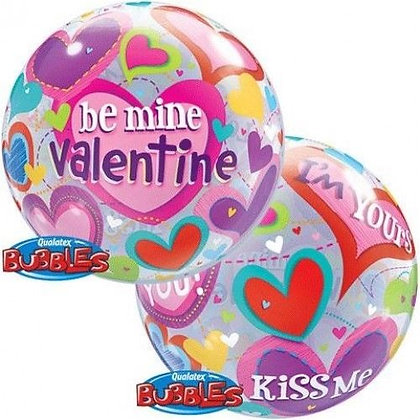 56CM BE MINE VALENTINE BUBBLE BALLOON