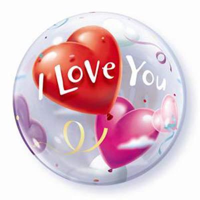 56CM I LOVE YOU HEART BUBBLE BALLOON