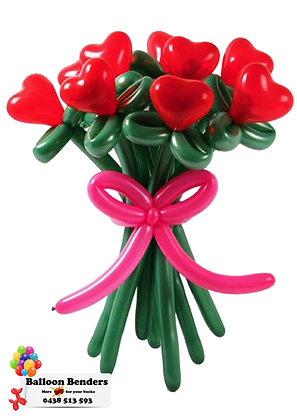 A RED FLOWER HEART BOUQUET