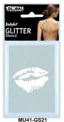 GLITTER STENCIL - KISS
