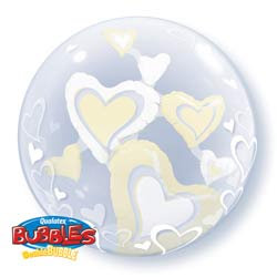 61CM WHITE IVORY HEARTS DOUBLE BUBBLE BALLOON