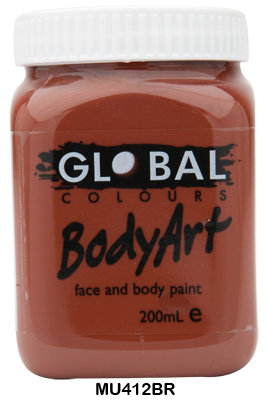 GLOBAL COLOURS BROWN FACE PAINT 200ML