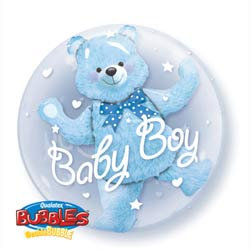 61CM BABY BOY BLUE DOUBLE BUBBLE BALLOONS