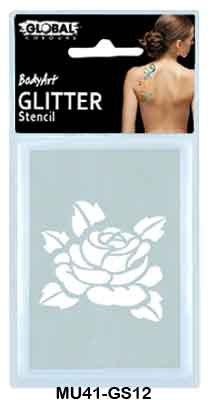 GLITTER STENCIL - ROSE