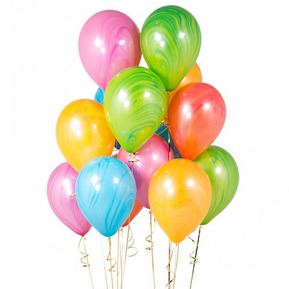 Multicolour Marble Latex Party Balloons - 14 Pack