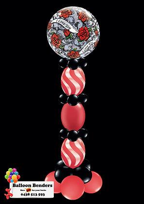 A56CM BUBBLE BALLOON ROSES & FILIGREE LINK COLUMN