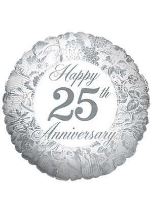 46CM HAPPY 25TH ANNIVERSARY SILVER ROUND FOIL BALLOON