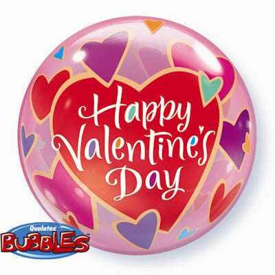 56CM BUBBLE BALLOON COLOURFUL VALENTINES HEART /1