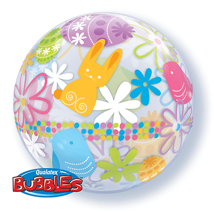 56CM SPRING BUNNIES & FLOWERS BUBBLE BALLOON