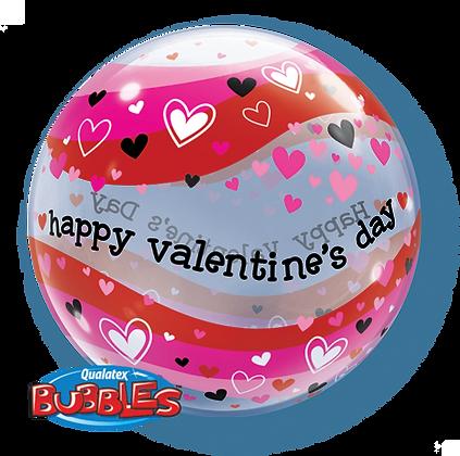 56CM VALENTINES HEART WAVE BUBBLE BALLOON
