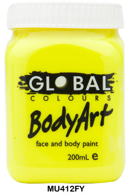 GLOBAL COLOURS FLURO YELLOW FACE PAINT 200ML