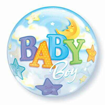 56CM BABY BOY BUBBLE BALLOON MOON & STARS