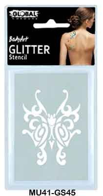 GLITTER STENCIL -  TRIBAL BUTTERFLY