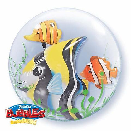 61CM SEAWEED TROPICAL FISH DOUBLE BUBBLE BALLOON