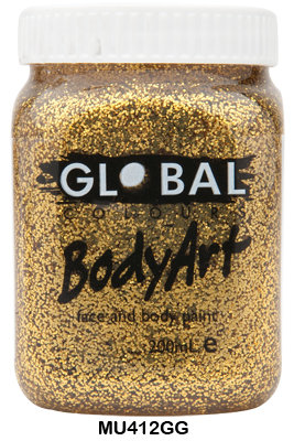 GLOBAL COLOURS GOLD GLITTER FACE PAINT 200ML