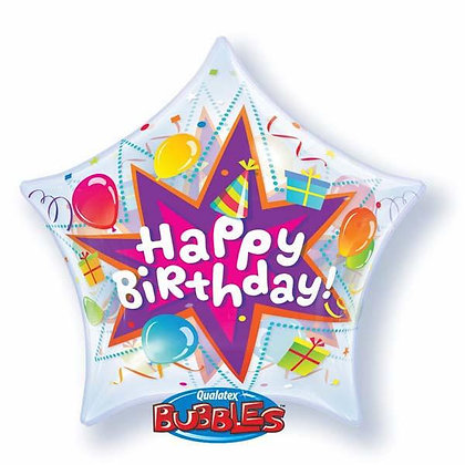 56CM HAPPY BIRTHDAY BANG STAR BUBBLE BALLOON