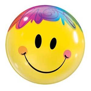56CM BUBBLE BALLOON SMILEY FACE WITH HAIR /1