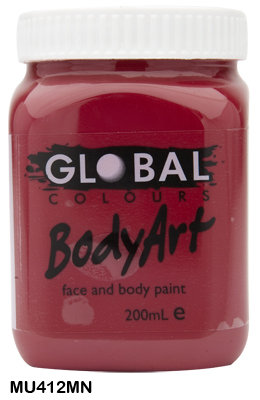 GLOBAL COLOURS MAROON FACE PAINT 200ML