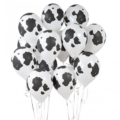 Cow Print Latex Party Balloons - 14 Pack