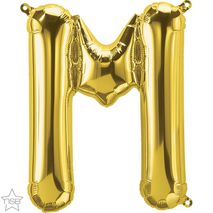 """16"""" (41cm) North Star Air-Filled Gold Letter - M"""