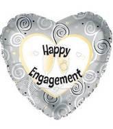 43CM HAPPY ENGAGEMENT SILVER SWIRLS FOIL BALLOON