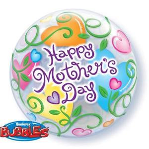 56CM HAPPY MOTHERS DAY CURLY HEARTS BUBBLE BALLOON