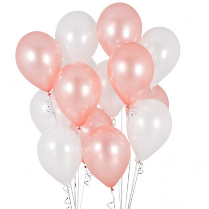 Rose Gold and White Latex Party Balloons - 14 Pack