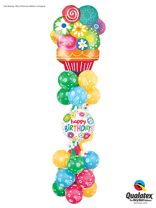 Flowery Happy Birthday Column