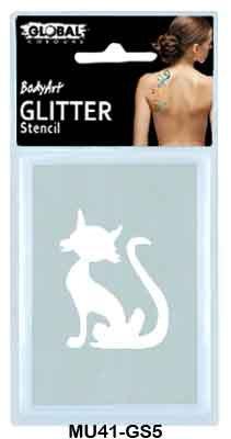 GLITTER STENCIL - CAT