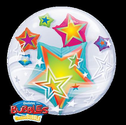 61CM MULTICOLOURED STARS DOUBLE BUBBLE BALLOON