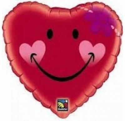 46CM A SMILE AND A DAISY HEART FACE BALLOON