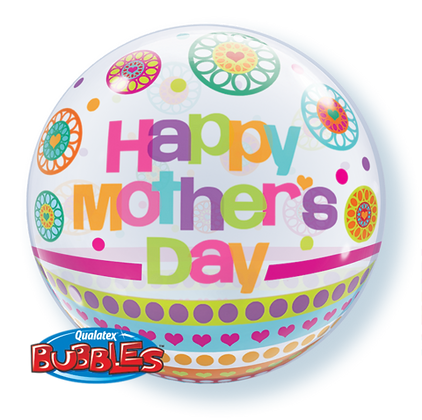 56CM HAPPY MOTHERS DAY BOTS AND PATTERNS BUBBLE BALLOON