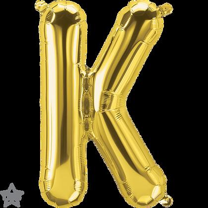 "16"" (41cm) North Star Air-Filled Gold Letter - K"