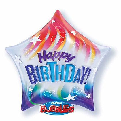 56CM HAPPY BIRTHDAY RED AND BLUE STAR BUBBLE BALLOON
