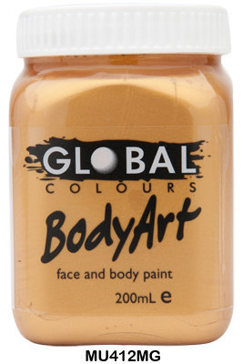 GLOBAL COLOURS METALLIC GOLD FACE PAINT 200ML