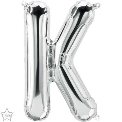"""16"""" (41cm) North Star Air-Filled Silver Letter - K"""