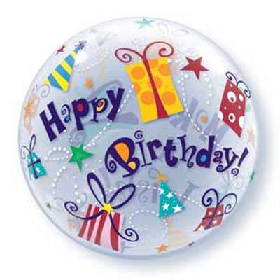 56CM BUBBLE BALLOON MAKE A WISH HAPPY BIRTHDAY /1