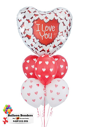 A I LOVE YOU RED & WHITE HEART BOUQUET