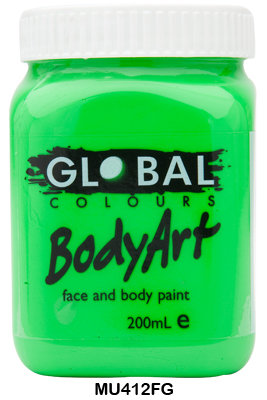 GLOBAL COLOURS FLURO GREEN FACE PAINT 200ML