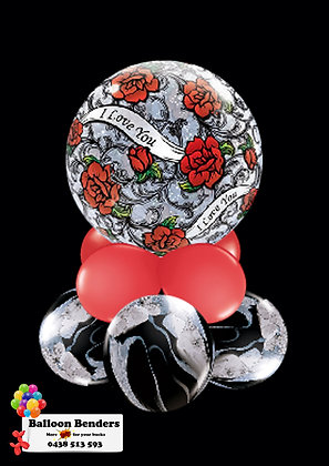 A56CM BUBBLE BALLOON ROSES AND BLACK FILIGREE /1