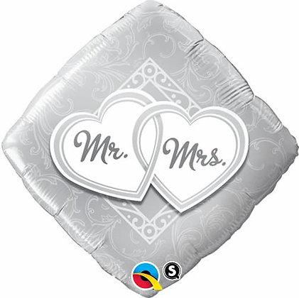 46CM MR & MRS ENTWINED HEARTS DIAMOND FOIL