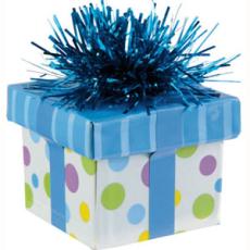 GIFT BOX BALLOON WEIGHT - POLKA DOT BLUE