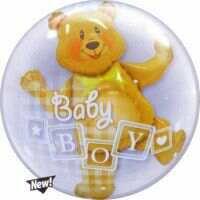 61CM BOY BLOCKS & BEAR DOUBLE BUBBLE BALLOONS
