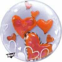 61CM FLOATING HEARTS DOUBLE BUBBLE BALLOONS