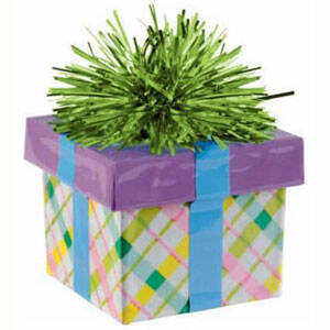 GIFT BOX BALLOON WEIGHT - PLAID