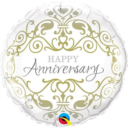 46CM HAPPY ANNIVERSERY ROUND CLASSIC FOIL BALLOON