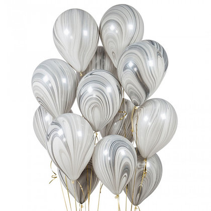 Monochrome Marble Latex Party Balloons - 14 Pack