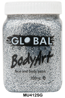 GLOBAL COLOURS SILVER GLITTER FACE PAINT 200ML
