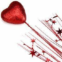 SPANGLES FOAM HEART SPRAY - RED
